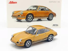Porsche 911 S coupe year 1973 gold metallic 1:18 Schuco