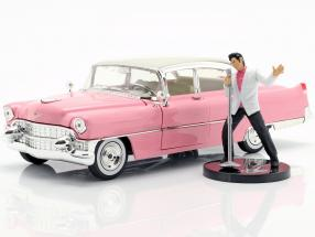 Cadillac Fleetwood 1955 pink / white with Elvis Presley figure 1:24 Jada Toys