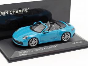 Porsche 911 (992) Carrera 4S Cabriolet year 2019 Miami blue 1:43 Minichamps