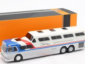 Greyhound Scenicruiser bus year 1956 silver / white / blue / red 1:43 Ixo