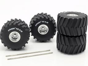 Monster Truck 66-inch Wheel & Tire Set Goodyear 1:18 Greenlight