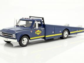 Chevrolet C-30 Ramp Truck Sunoco Racing year 1967 blue / yellow 1:18 GMP
