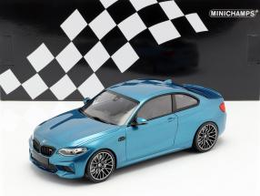 BMW M2 Competition year 2019 blue metallic 1:18 Minichamps