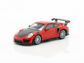 Porsche 911 GT2 RS year 2018 red / carboxylic 1:87 Minichamps