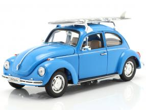 Volkswagen VW Beetle Hard Top 1959 blue with black surfboard 1:24 Welly