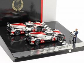 2-Car Set Toyota TS050 Hybrid #8 & #7 finish 24h LeMans 2018 1:43 Spark