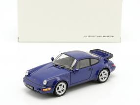 Porsche 911 (964) Turbo Year 1990 blue 1:24 Welly