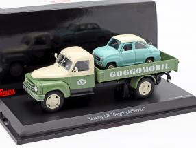 Hanomag L28 Pritsche Goggomobil Service green / beige 1:43 Schuco