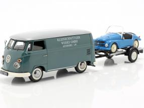 Volkswagen VW T1c with car trailer and Kleinschnittger gray blue / blue 1:43 Schuco