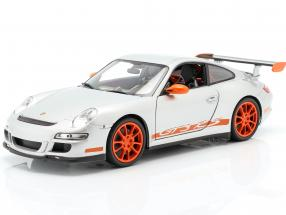 Porsche 911 (997) GT3 RS Coupe Year 2007 silver / orange 1:18 Welly
