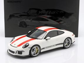 Porsche 911 (991) R year 2016 white with red stripes 1:12 Minichamps