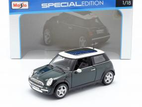 Mini Cooper with Sunroof dark green / white 1:18 Maisto