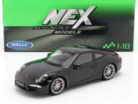 Porsche 911 (991) Carrera S Year 2011 black 1:18 Welly