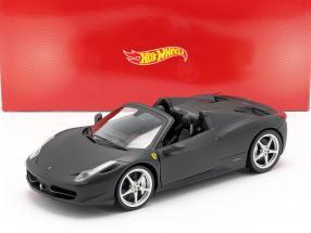 Ferrari 458 Italia Spider Year 2011 matt black 1:18 HotWheels Heritage