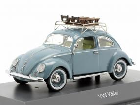 Volkswagen VW Pretzel beetle with sleigh light blue 1:43 Schuco