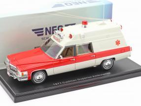 Cadillac Superior Ambulance year 1977 white / red 1:43 Neo