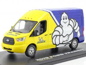 Ford Transit LWB High Roof Michelin 2019 blue / yellow / white 1:43 Greenlight