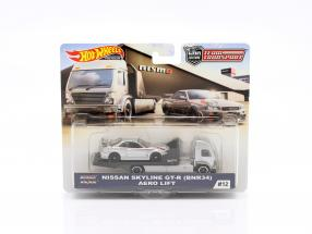 Set Team Transport: Nissan Skyline GT-R (BNR34) & Aero Lift 1:64 HotWheels