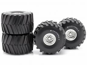Monster Truck 66-inch tires & rims Set Firestone 1:18 Greenlight