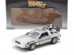 DeLorean Time Machine Flying Wheel Version Back to the Future II (1989) silver 1:24 Jada Toys