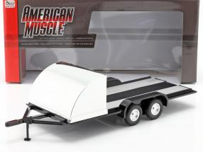 Four wheel open Car Trailer black / chrome 1:18 Autoworld