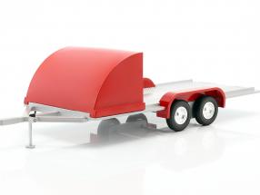 Four wheel open Car Trailer red / silver gray 1:18 Autoworld