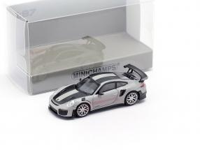 Porsche 911 GT2 RS year 2018 grey / carbon 1:87 Minichamps