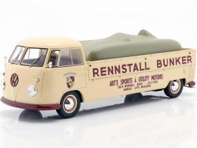 Volkswagen VW Bulli T1 Race transporter Stable Bunker with Tarpaulin 1:18 Schuco