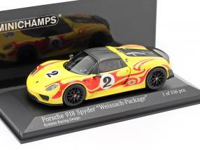 Porsche 918 Spyder Weissach Package Kyalami Racing Design year 2015 yellow / red 1:43 Minichamps