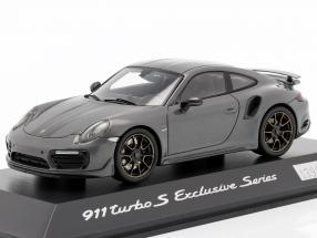 Porsche 911 (991) Turbo S Exclusive Series gray metallic, black 1:43 Spark