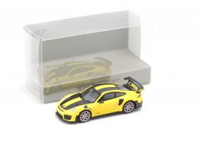 Porsche 911 GT2 RS year 2018 yellow / carbon 1:87 Minichamps