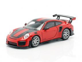 Porsche 911 GT2 RS year 2018 red / carbon 1:87 Minichamps