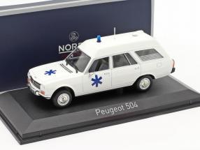 Peugeot 504 Break Ambulance year 1979 white 1:43 Norev
