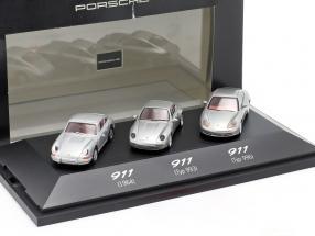 3-Car Set Porsche 911 (1964 / Type 993 / Type 996) silver grey 1:87 Herpa