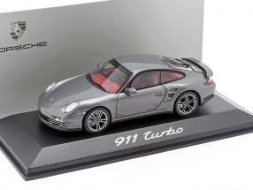 Porsche 911 (997) Turbo Mk1 year 2008 grey metallic 1:43 Minichamps