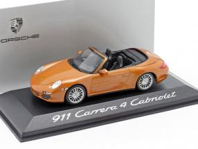 Porsche 911 (997 II) Carrera 4 Cabriolet year 2009 orange metallic 1:43 Minichamps