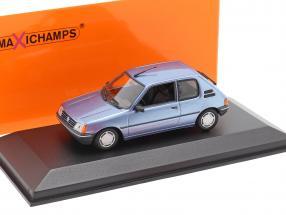 Peugeot 205 year 1990 light blue metallic 1:43 Minichamps