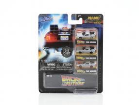 3-Car Set DeLorean Time Machine Back to the Future silver 1:87 Jada Toys