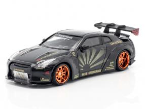 LB-Works Nissan GT-R (R35) Type 1 black / copper rims 1:64 TrueScale