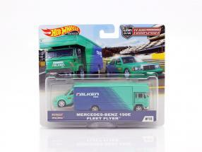Set Team Transport: Mercedes-Benz 190E & Fleet Flyer 1:64 HotWheels