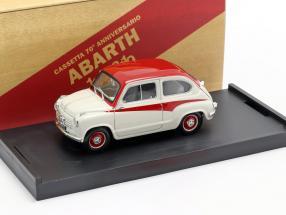 Fiat 600 Derivazione Abarth 750 year 1956 white / red 1:43 Brumm