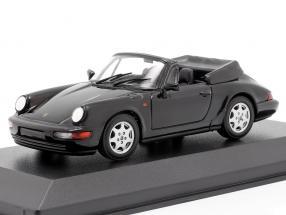Porsche 911 Carrera 4 Cabriolet year 1990 black 1:43 Minichamps