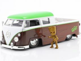 Volkswagen VW Bus PickUp 1963 with figure Groot Marvel Guardians 1:24 Jada Toys