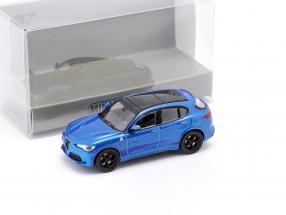 Alfa Romeo Stelvio Quadrifoglio year 2018 blue metallic 1:87 Minichamps