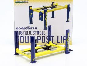 Adjustable four-post Lift Goodyear yellow / blue 1:18 Greenlight
