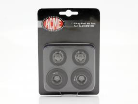 Pork Chop Drag Wheel & Tire Set 1:18 GMP