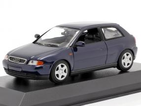 Audi A3 (8L) year 1996 blue metallic 1:43 Minichamps