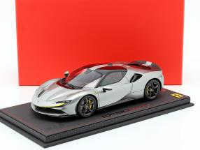 Ferrari SF90 Stradale Race version 2019 silver gray metallic 1:18 BBR