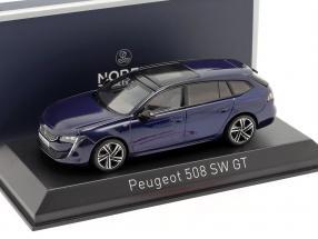Peugeot 508 SW GT year 2018 dark blue 1:43 Norev