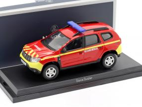 Dacia Duster fire Department Secours Medical year 2018 red / yellow 1:43 Norev